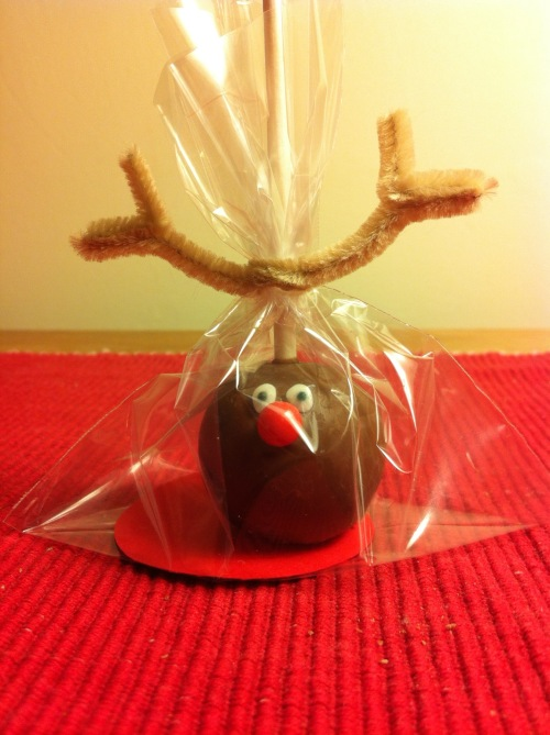 bagged up rudolph cake pop