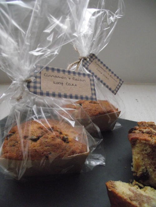 bagged up cinnamon and raisin loaf cakes