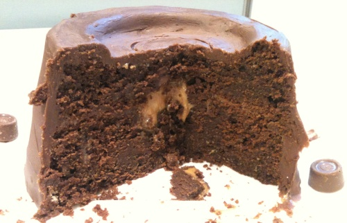 cut giant rolo cake