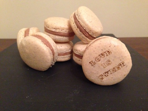 hazelnut macarons with Nutella cream cheese filling