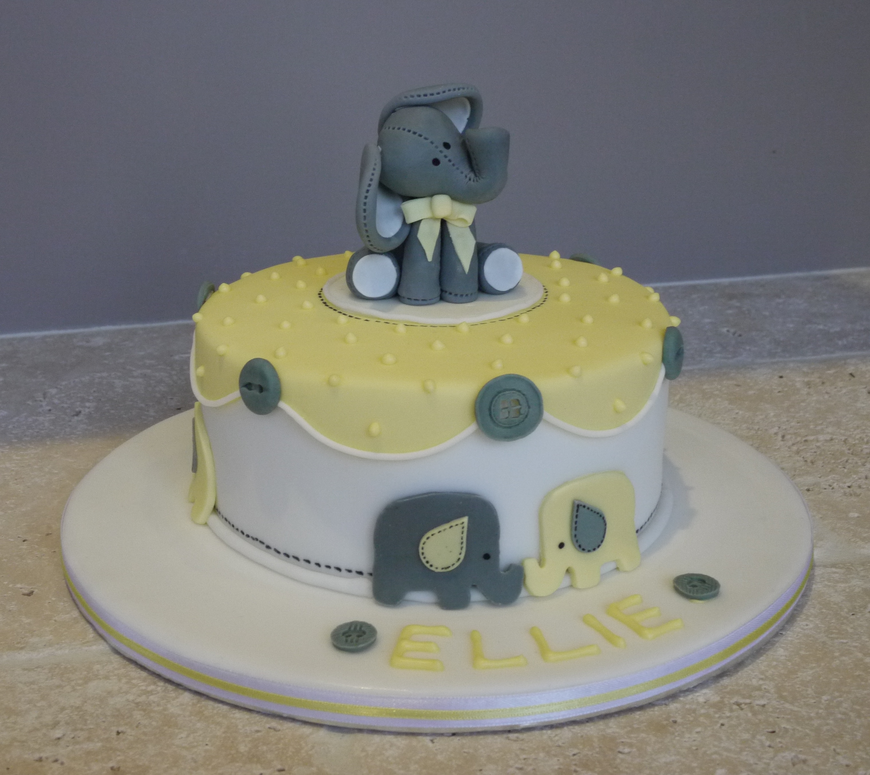 Grey and Yellow Elephant Christening Cake